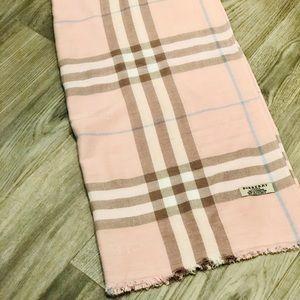 Burberry Plaid Pink Cashmere Scarf